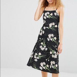 Asos black floral midi dress size M medium 8